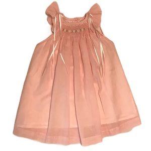 Other - Pink smocked flutter sleeve dress 12M
